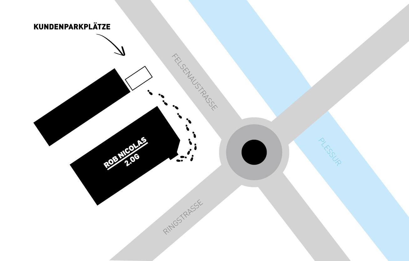 Anfahrt und Besucherparkplätze ROB NICOLAS