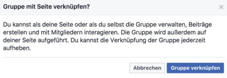 Facebook Gruppe verknüpfen Auftritt in Gruppe