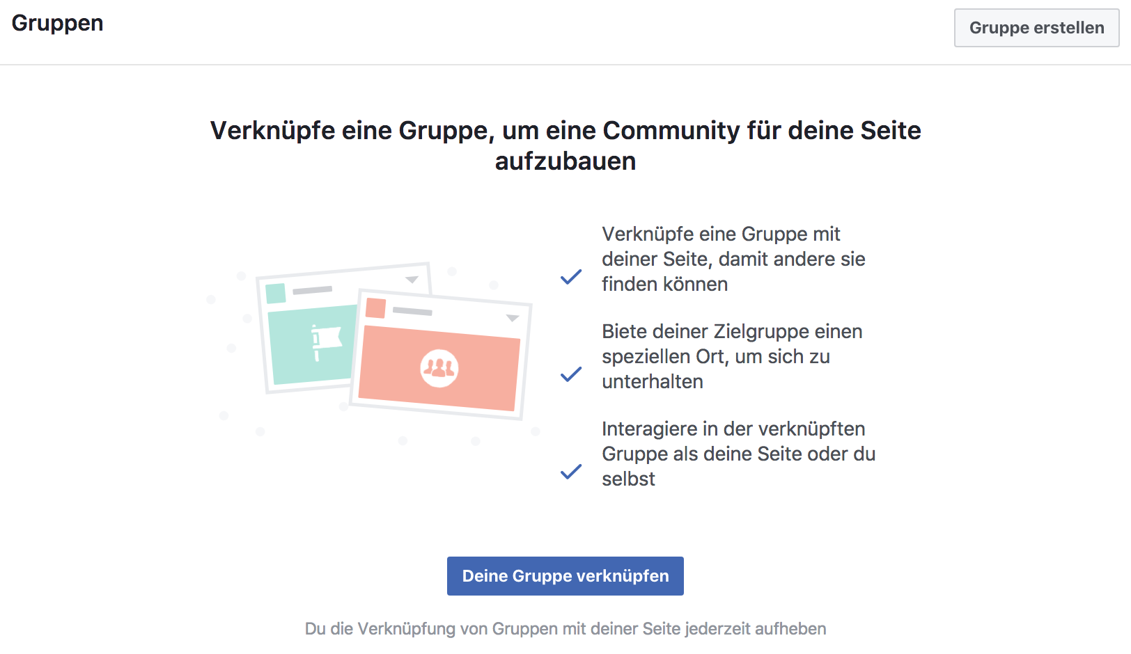 Facebook Gruppe verknüpfen