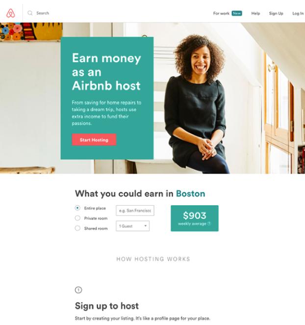 Nutzererfahrung mit der Zielseite. Beispiel airbnb.