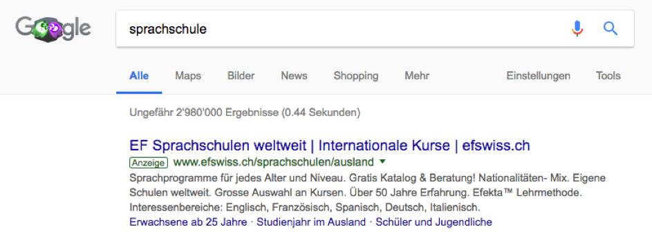 Google Ads Anzeige. Beispiel Sprachschule.