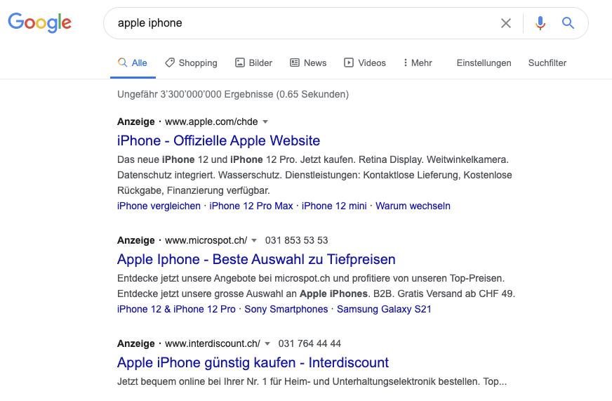 Beispiel Brandkampagne Google Ads für Suchanfrage Apple iPhone