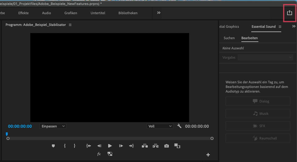 Screenshot_Quick Export Funktion Premiere Pro