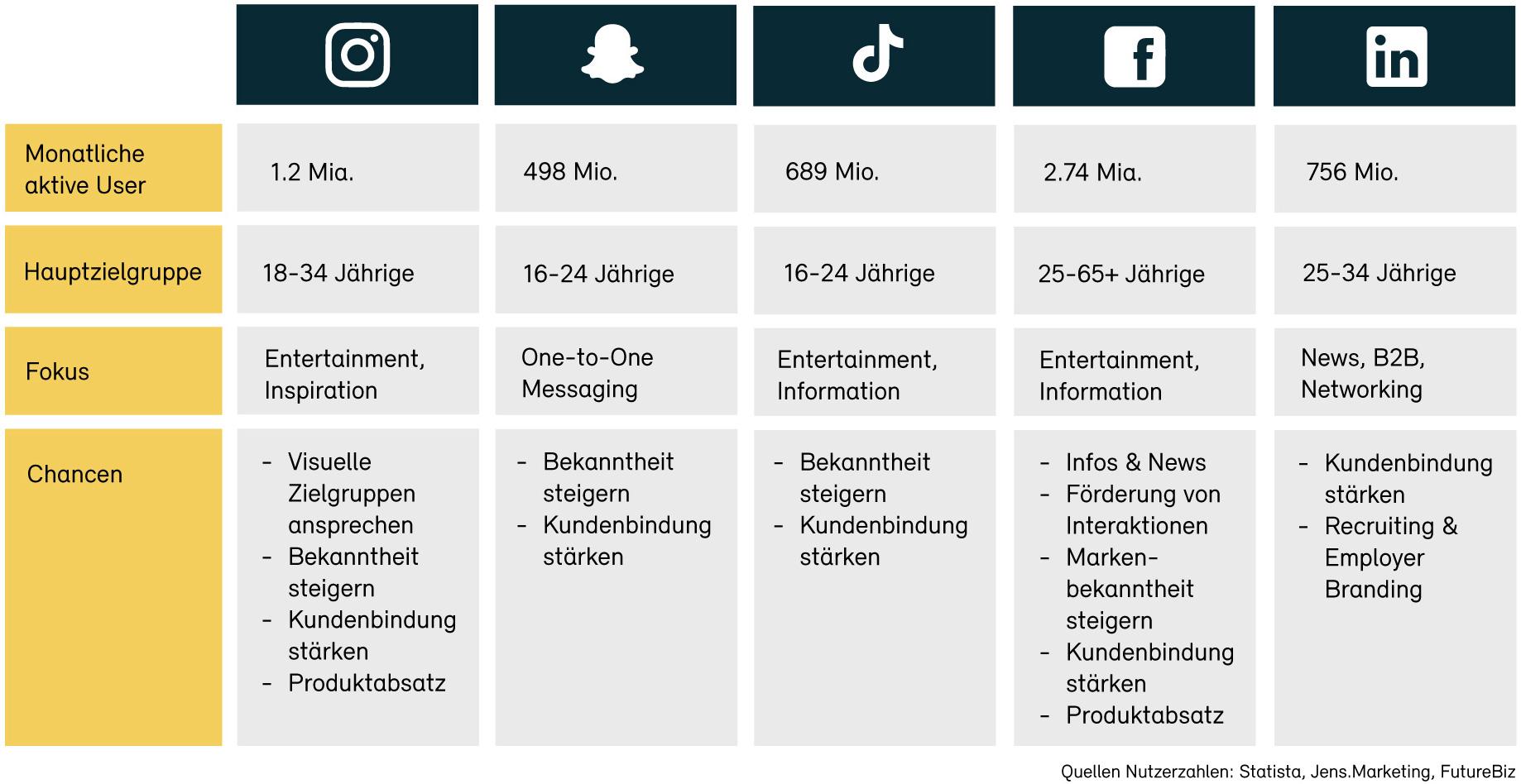 Übersicht wichtigste Social Media Plattformen