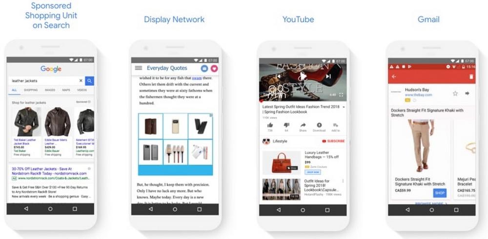 Google Shopping Ads Beispiele in den verschiedenen Kanälen